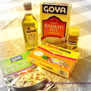 goya basmati rice, olive oil, sazon